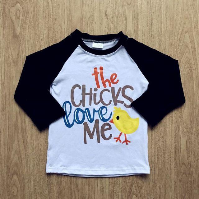 ce1e46a4d Aicton 2018 boys easter day raglan t shirts the chicks love me cotton t  shirts Spring Summer T shirt