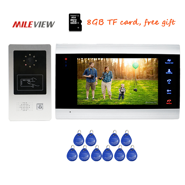 "Free Shipping 720P AHD HD 7"" Touch Key Screen Video Door Phone Intercom Record System Motion Detection + RFID Unlock Door Camera"
