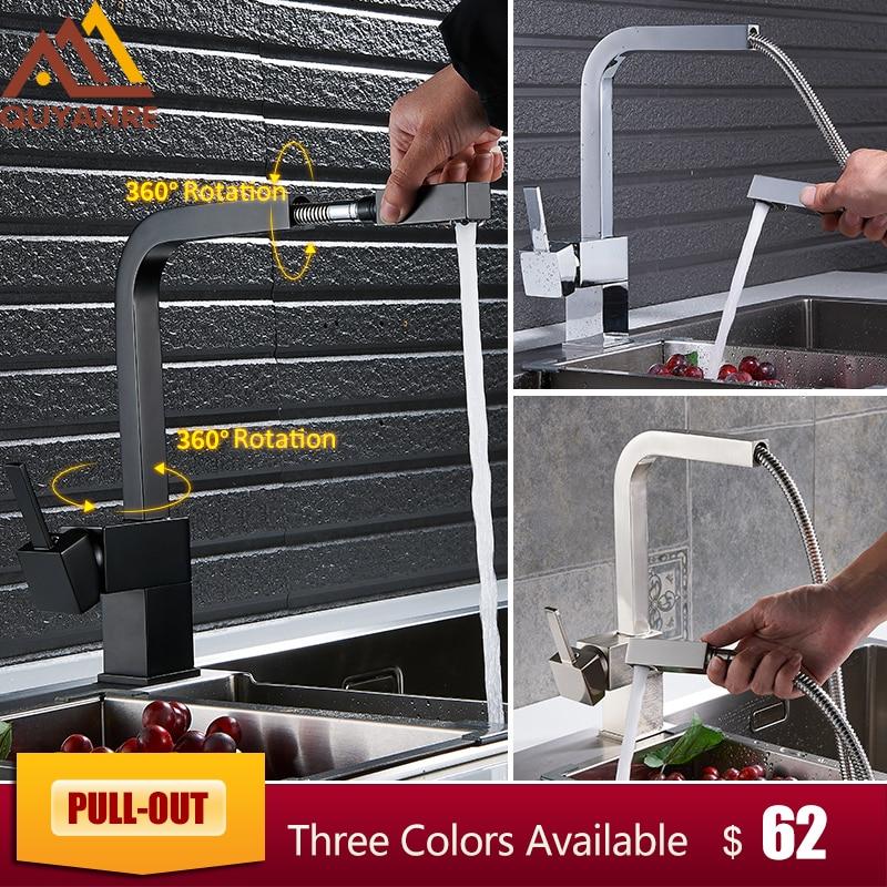 купить Quyanre Matte Black Square Pull Out Kitchen Faucet Single Handle Mixer Tap 360 Rotation Sprayer Hot Cold Water Mixer Basin Tap по цене 3925.51 рублей