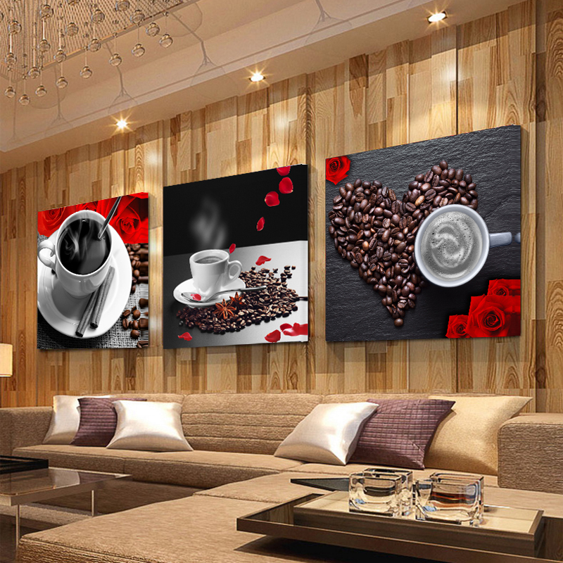 Kitchen Decor Stores: 3 Panel Print Coffee Cup Vintage Canvas Painting Wall