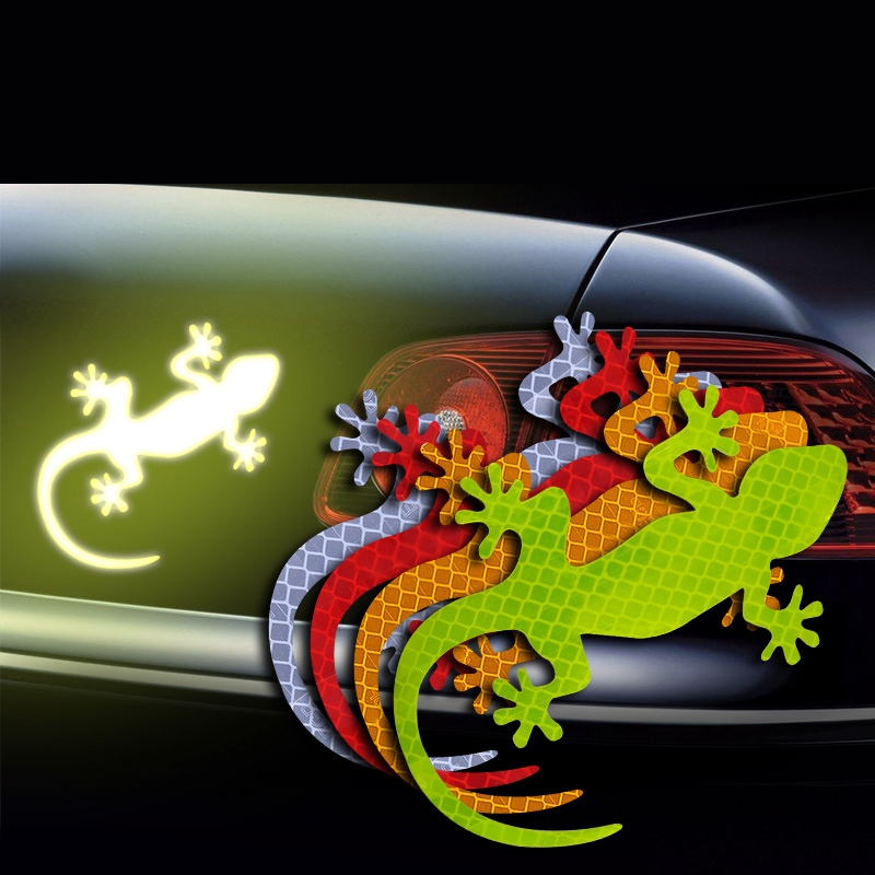 2Pcs Car Reflective Sticker Safety Warning Mark Cars Auto Exterior Accessories Night Driving Warning Gecko Strip Light Reflector