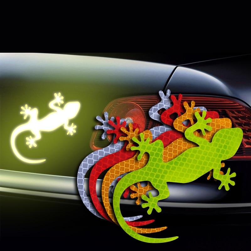 2Pcs Car Reflective Sticker Safety Warning Mark Cars Auto Exterior Accessories Night Driving Warning Gecko Strip Light Reflector