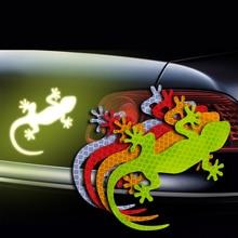 Gecko calcomanía reflectante de automóvil, 2 uds., marca de advertencia de seguridad para automóviles, accesorios exteriores de automóviles, advertencia de conducción nocturna, Reflector de luz de tira
