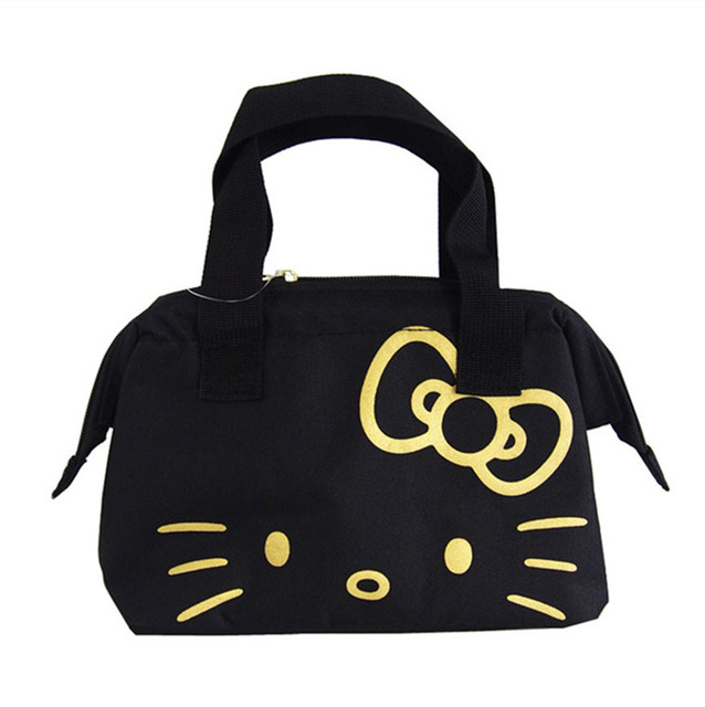 ecf65d2f31 Black Hello Kitty Cat Women Insulated Lunch Bags for Kids School Girls Lunch  Box Tote Bag