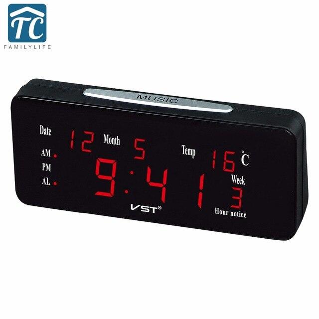 1dc991e7d7b Calendário LED Display Grande Moderna Mesa De Plástico Relógio Digital  LEVOU Relógio De Parede Digital Brilhante
