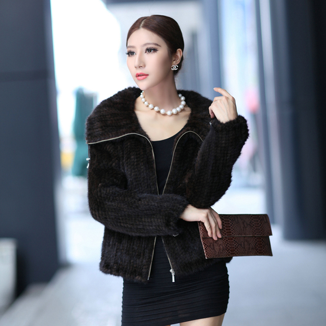 2016 Winter Women's Genuine Real Knitted Mink Fur Jacket Turn-down Collar Lady Short Coat Female Outerwear Coats VF0124