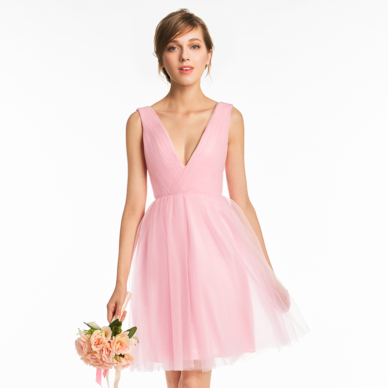 Tanpell v neck   bridesmaid     dress   pink sleeveless above knee a line gown women homecoming wedding party custom   bridesmaid     dresses