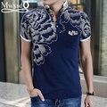 Alta calidad 2016 de Los Hombres de Impresión ocasional Camisa de Polo masculino de algodón de la marca polo de manga corta slim fit polo tamaño Asiático