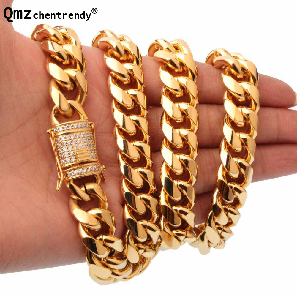 Qmzchentrendy 15mm Men Cuban Miami Chain Necklace Stainless steel CZ Clasp Bling Iced Out Gold Hip Hop Casting Chain Necklace цены