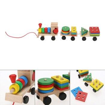 1 компл. Деревянная детская игрушка геометрический маленький поезд транспортного средства блоки Eduactional деревянная игрушка для детей подарк...