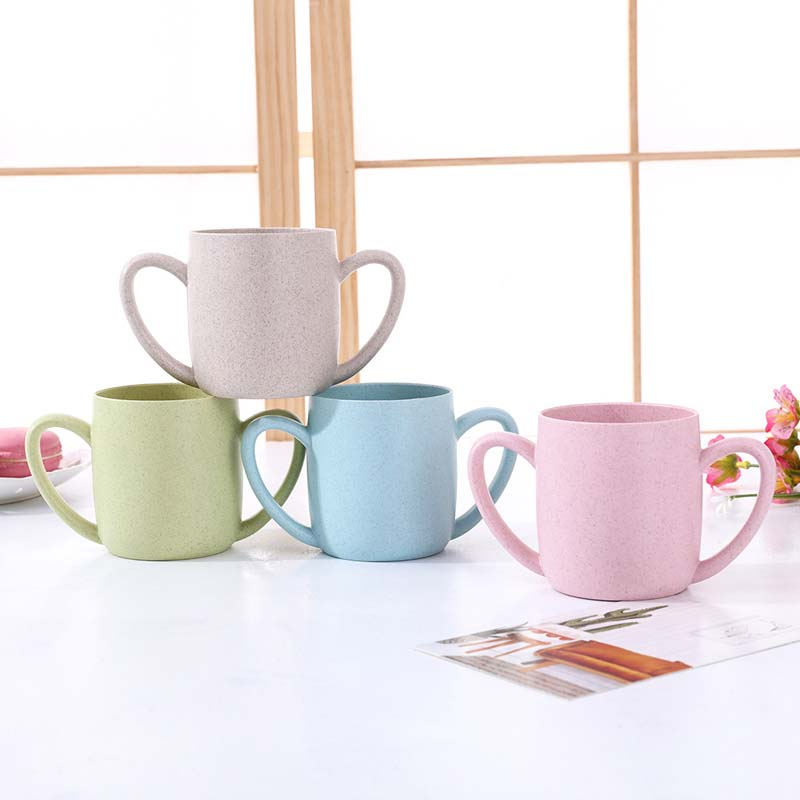 250ML Baby Cups Cute Wheat PP Feeding Drinking Drinkware With Handle Nature Safe Material Kids Drinkware Milk Mugs Heart Handle