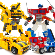 Building Block Bricks Robot Car Anime Transformation Car Robot DIY Educational action figure robot model child Robot toys Gift