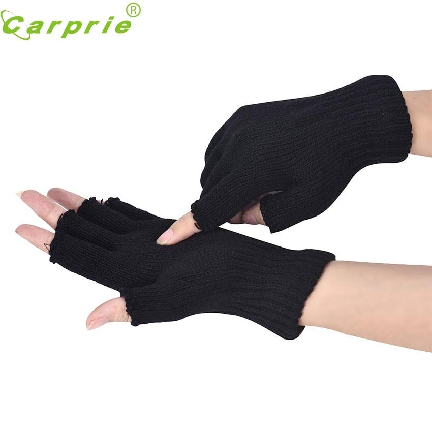 CARPRIE Super drop ship New Fashion <font><b>Motorcycle</b></font> Men <font><b>Black</b></font> Knitted Stretch Elastic Warm Half Finger <font><b>Fingerless</b></font> <font><b>Gloves</b></font> OCT19