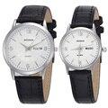 Presente do valentim Woonun Top Marca de Luxo Casal Relógios Para Amantes de Quartzo com Pulseira de Couro-Relógios Das Mulheres Dos Homens relógio de Pulso Casual