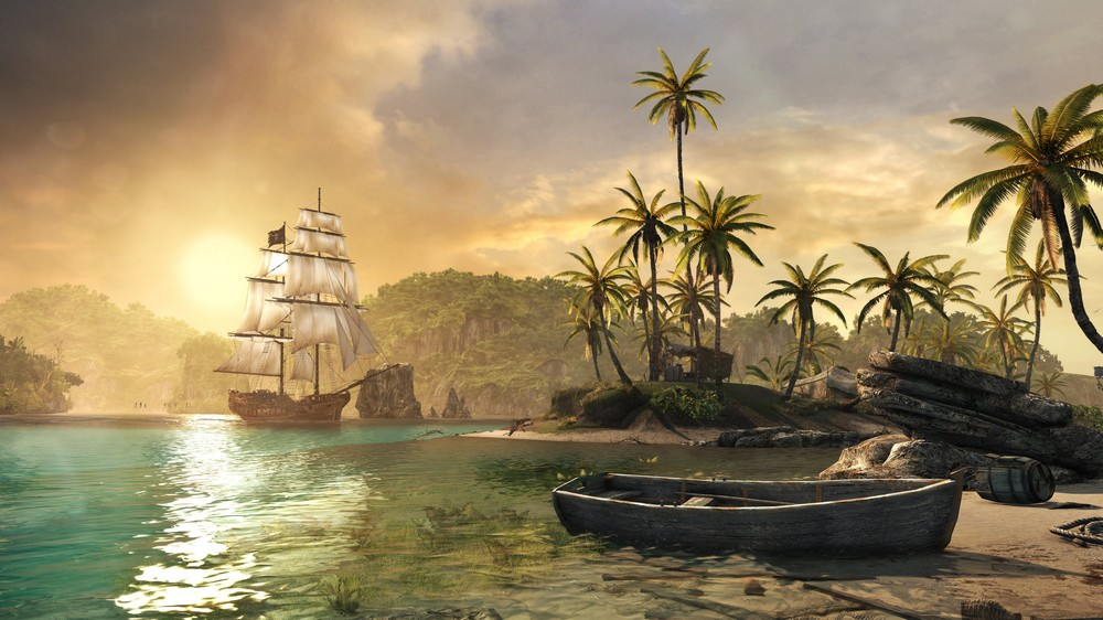 Sunset beach pirate ship boat backdrops high quality computer print party backgrounds in - Pirate background ...