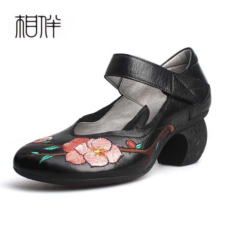 Bouche Talon Brodé Cuir Fleurs Hauts Talons Dames Profonde En Black Pompes Chaussures À Peu Noir Vintage Confortable Femmes Épais XzZwqxq