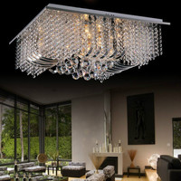Spectacular Square Crystal Ceiling Light Chandelier Flush Fitting Lamp Fixture K9 90 260V
