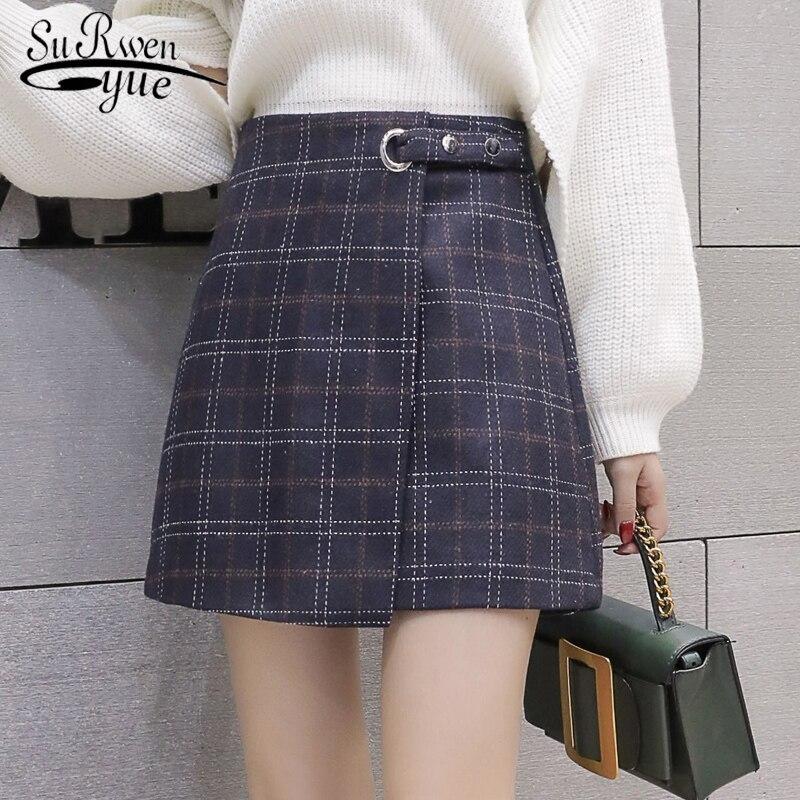 2018 herbst und Winter A-linie Rock Frauen Mode Mini Plaid Vintage Röcke Woolen damen Hohe Taille Feminine rock 1306 40