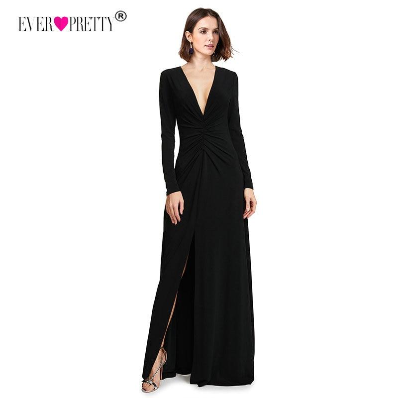 8480218fc625d US $24.99 45% OFF|Long Sleeve Black Prom Dresses 2018 Elegant Winter Autumn  V neck Leg Slit Special Occasion Dresses Sexy Plus Size Prom Dresses-in ...