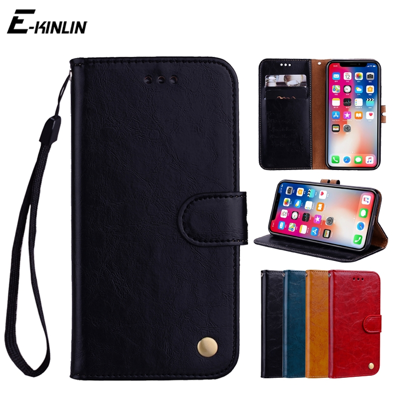 Retro Leather Flip Case Cover For iPhone X 10 Ten 8 7 6 6S Plus 5S 5 SE With Card Slots Holder Wallet Stand Protective Bag