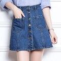 Metal botão placket curto feminino saia Jeans plus size saias 2016 mulheres de cintura alta magro Acima Do Joelho saia jeans XXL 4XL