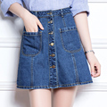 Metal button placket short skirt female Denim plus size skirts womens 2016 high waist slim Above Knee jeans skirt  XXL 4XL