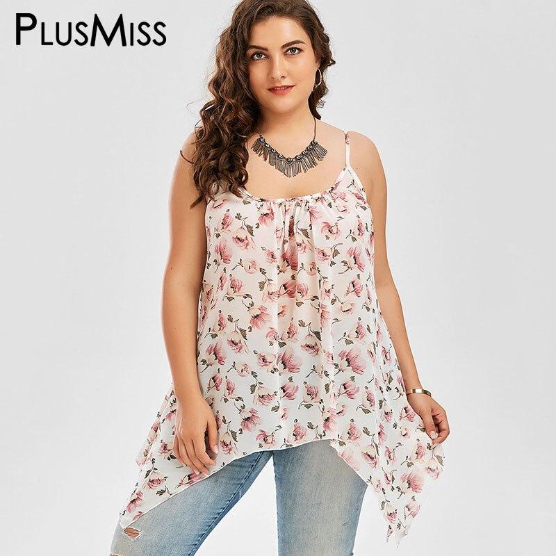 6b08d60119f PlusMiss Plus Size 5XL Floral Print Asymmetrical Chiffon Loose Cami Top  Summer 2018 Beach Boho Camisole