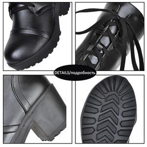 Image 5 - Haoshen & Meisje Vetersluiting Up Knie Hoge Winter Laarzen Vrouwen Cosplay Schoenen Wit Zwart Vierkante Hakken Schoenen Leren Schoenen Grote size 33 48