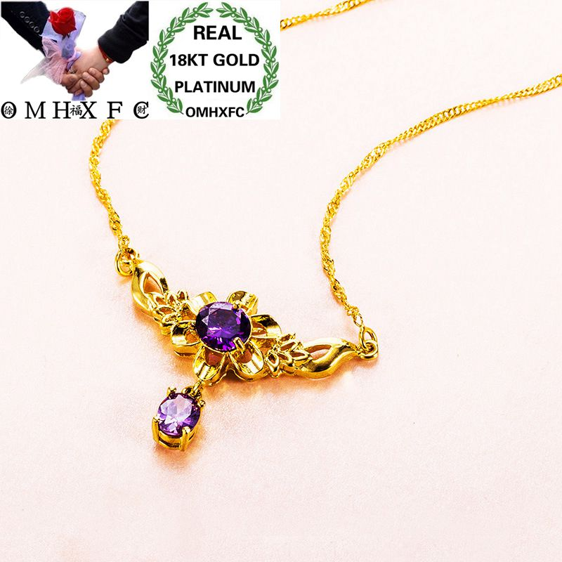MHXFC Wholesale European Fashion Female Party Wedding Gift Pink Blue Sun Flower AAA Zircon Real 18KT Gold Pendant Necklace NL146MHXFC Wholesale European Fashion Female Party Wedding Gift Pink Blue Sun Flower AAA Zircon Real 18KT Gold Pendant Necklace NL146