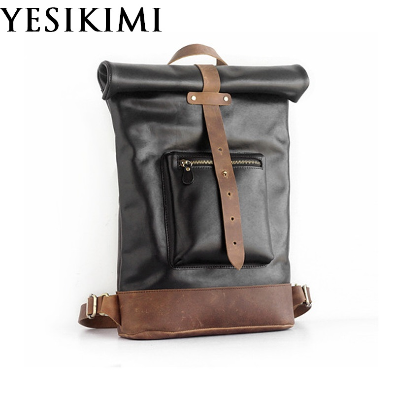 2018 New Nature Cowhide Male Backpacks Vintage Backpack Fashion School Shoulder Bag Genuine Leather Female Travel