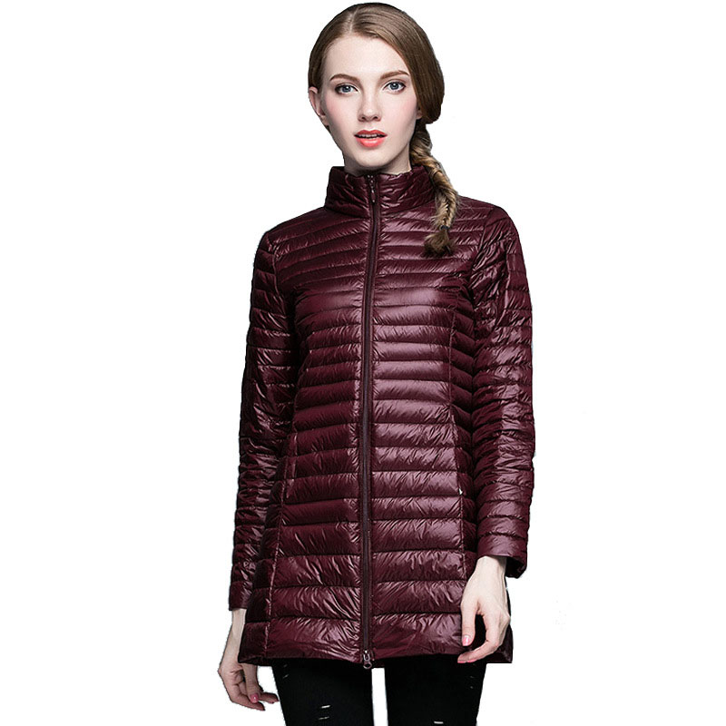 Simple three dimensional stripe design Winter women 39 s down jacket long section collar thinweight Women 39 s winter clothing Coat in Parkas from Women 39 s Clothing