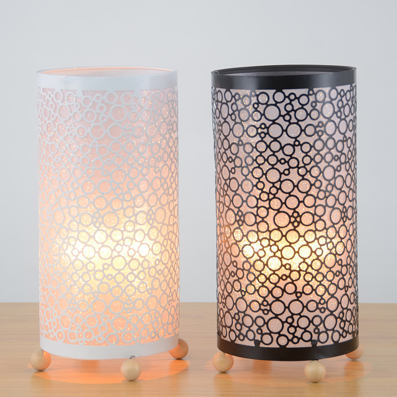 Modern Metal Hollow out Cylinder Bedroom Bedsides Table Lights Bar Club Wooden Beads Base Study Room Desk lighting Fixtures led bar table plastic luminous furniture high cocktail drinking table for living room dining room garden club party desk