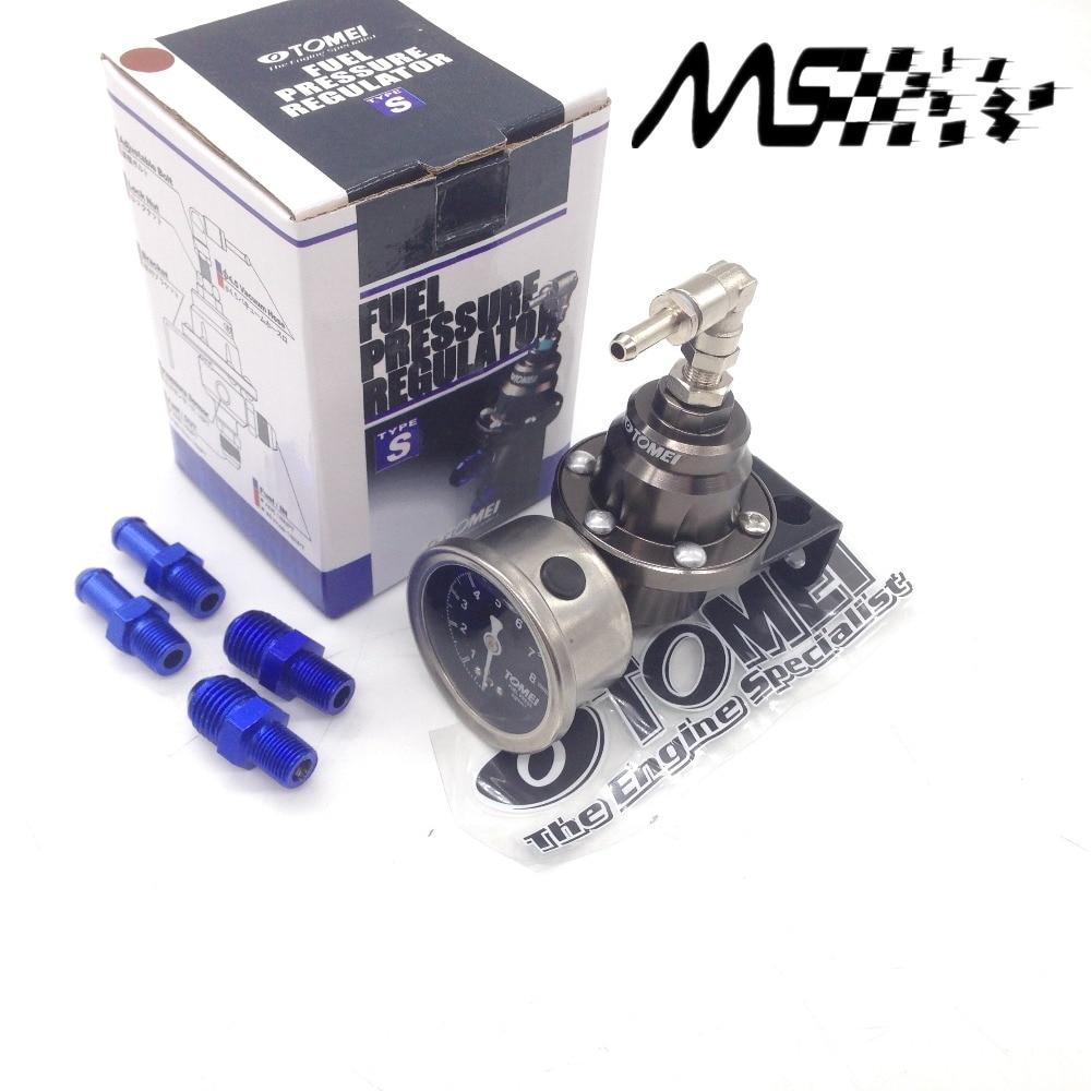 Universal justerbar Tomei brændstoftrykregulator med måler og instruktioner (rød / blå / guld / sølv / sort / titanium)