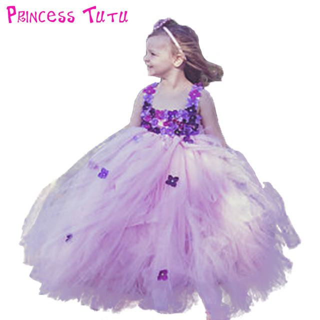 Pink Princess Baby Dress Light Purple Flower Tutu Wedding Birthday Party S Gown Toddler Pt322