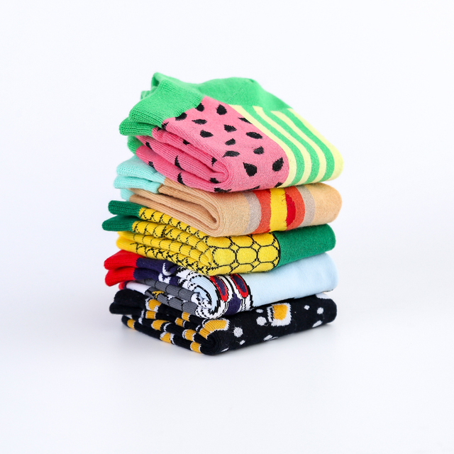 Jhouson New Arrival Men's Combed Cotton Summer Ankle  Watermelon Corn Pattern Colorful Novelty Casual Boat Socks 5