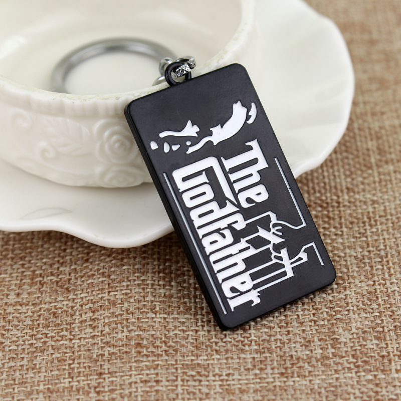 SG Fashion Film Around Jewelry The Godfather Keyring Letter Metal Black Tag Keychain Gift For Men