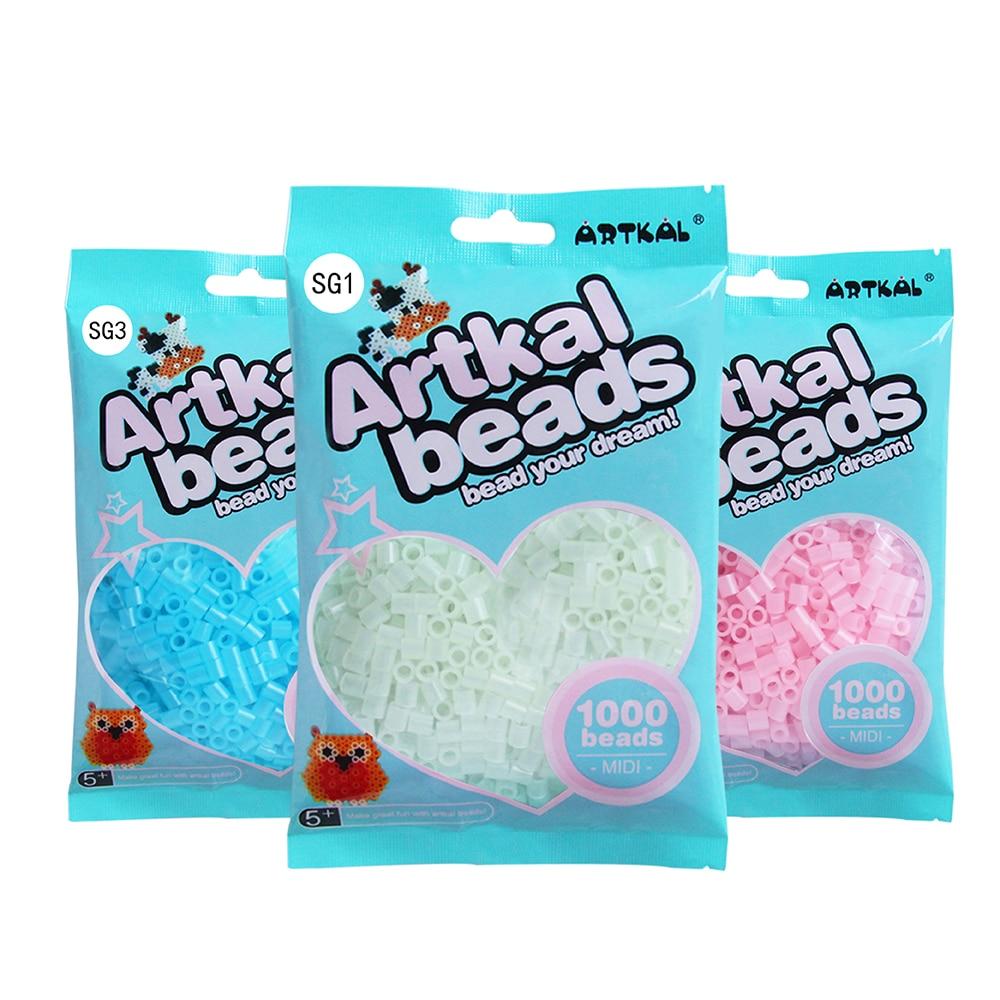 ARTKAL 7 Glow In Dark Colors 1000 Pcs/ Bag S-5mm Perler Beads DIY Educational Puzzle Toys
