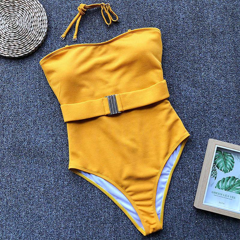 Sexy strapless One Piece Swimsuit Bikini Mulheres Verão cinto Empurrar Para Cima Swimwear Beachwear monokini tanga Maiô Brasileiro