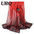 Fashion Design Brand Woman  Long Chiffon Silk scarves Polka Dots Print long wrap scarfs foulard P5A16238