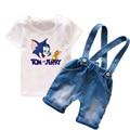 0-6years Niños de Dibujos Animados Ropa de Niños Juegos de Ropa de Verano 2017 Nuevos Pantalones Cortos de Mezclilla de Moda para Niños 100% Algodón T6037