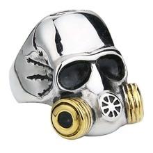 Valily Mens Gold Color Alien Skull Gas Mask Ring stainless steel Zombie Outbreak Response Team Skull ring finger rings jewelry