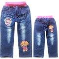 ¡ Venta caliente! 2016 Nuevos Niños Vaqueros Rectos de Cintura Elástica Oso Patrón de Mezclilla Séptimo Pantalones Jeans Muchacha Al Por Menor De 2-7 Años