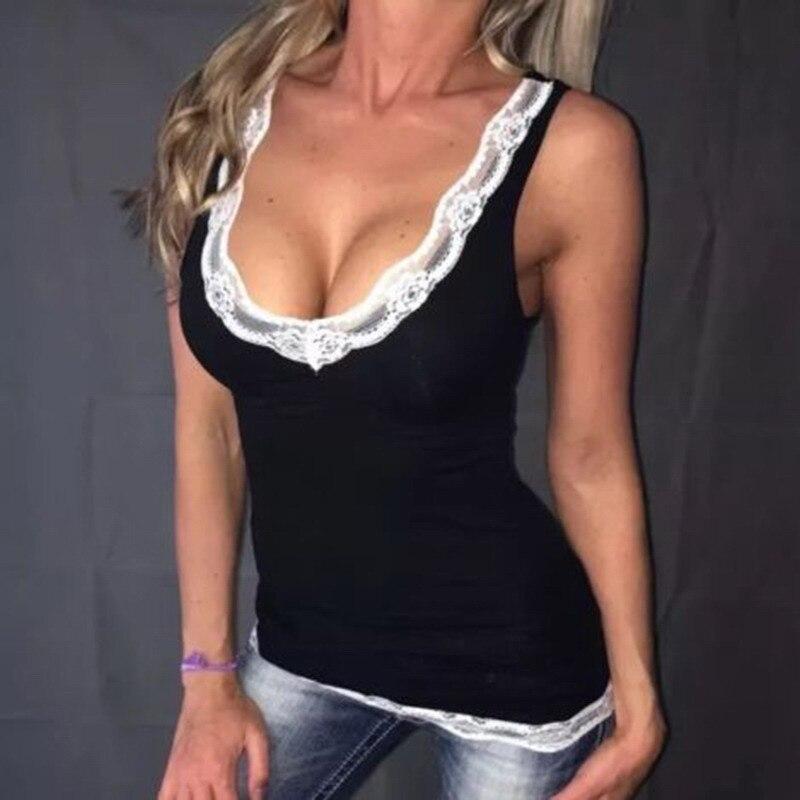 Umeko Tanque Rendas Top Mulheres Verão Sexy Bodycon Profunda V Costura Pescoço Sem Mangas Tops Casual Haut Femme
