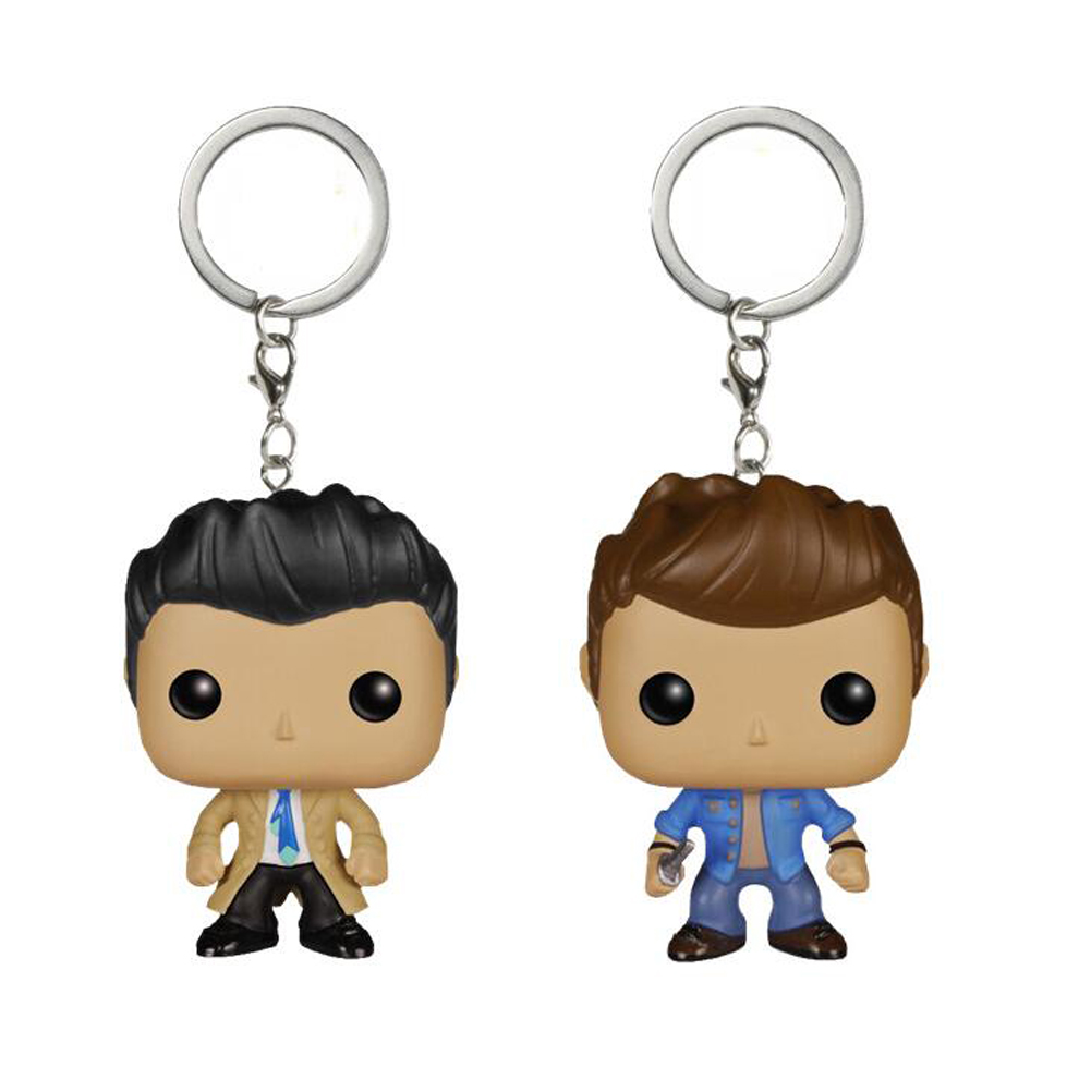 Supernatural Character Dean & Castiel KEYCHAIN Figure Collection Key Chain Toys with retail box