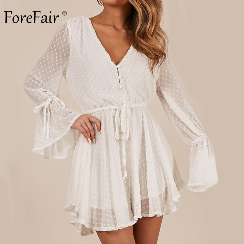 fa2dd3102d0 Detail Feedback Questions about Forefair Chiffon Playsuit Women Elegant  Summer Rompers Long Sleeve Tunic Elastic Waist V Neck Ruffle Pink White Sexy  ...