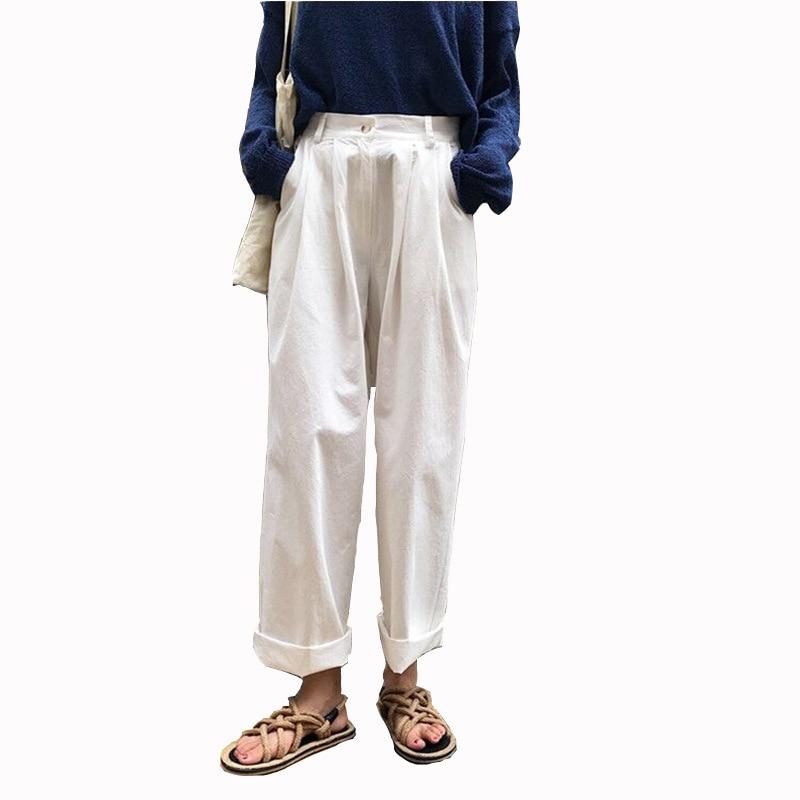 MOBTRS Women's   Pants   Casual Solid Color Women's High Waist   Pants   Loose Slim   Wide     Leg     Pants   Female Clothes