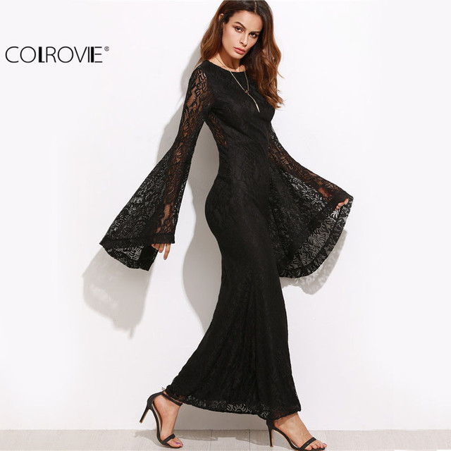 COLROVIE Womens Dresses New Arrival Slim Pencil Long Maxi Dress Black Oversized Bell Sleeve Floral Lace Dress