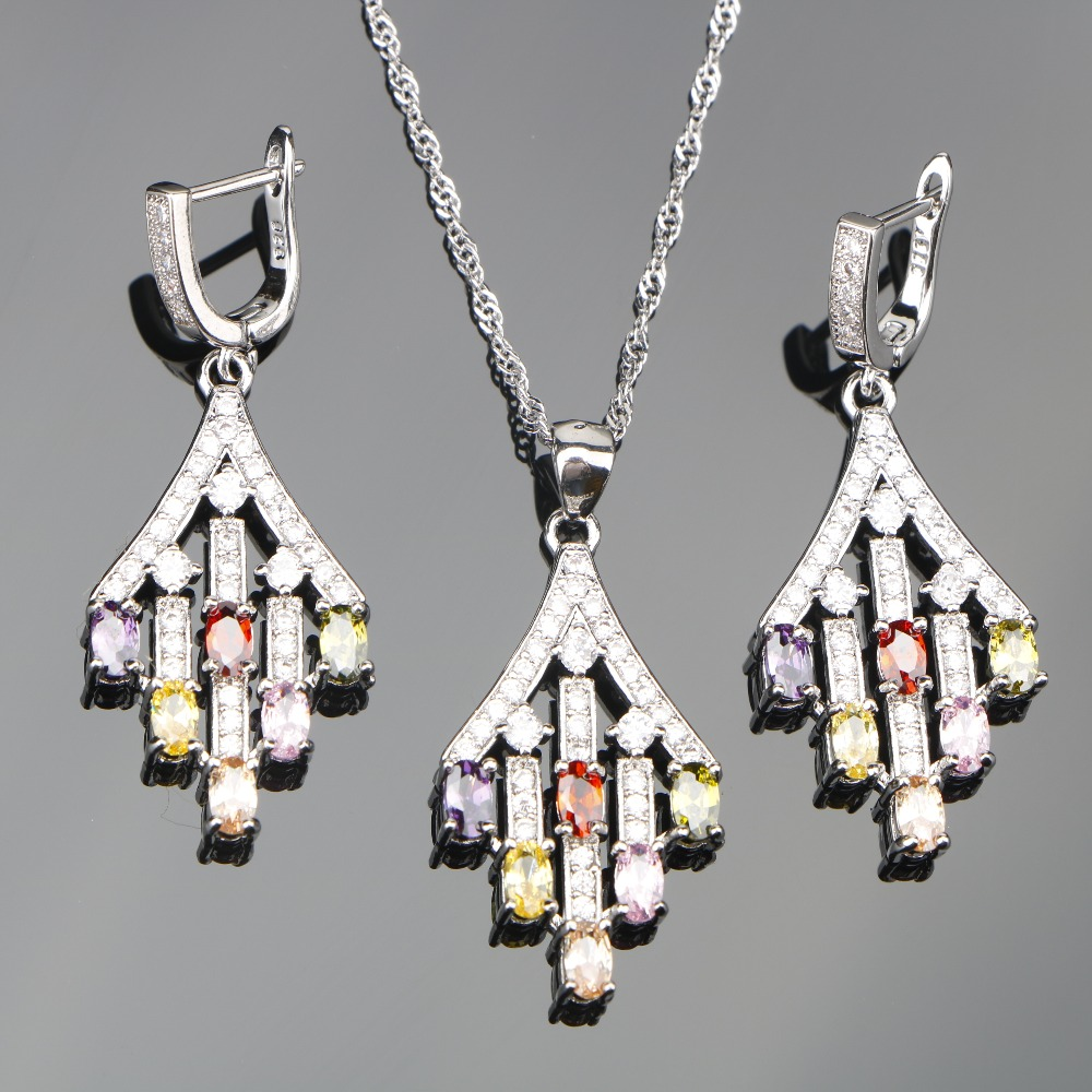 Colorful Zircon 925 Silver Bridal Jewelry Sets Wedding For Women Stones Earrings Pendant Necklace Set of Jewelery Free Gift Box