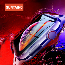 Suntaiho 3D Full gel glass film for Apple Watch 44 mm 42 mm Soft Edge Anti Purple Blue light Screen Protector Film for i Watch 4