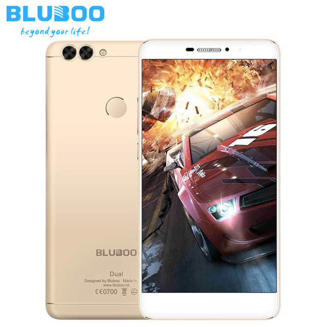 Original BLUBOO Dual Smartphone Android 6.0 MTK67637T Quad Core Cellphone 2GB + 16GB 13MP Dual Back Cameras 4G LTE Mobile Phone
